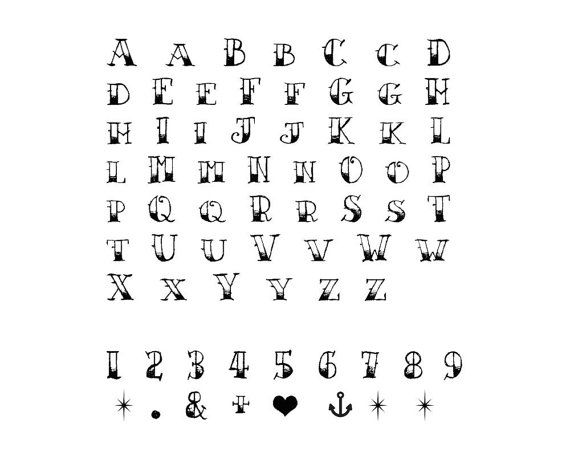 Sailor Jerry Temporary Alphabet Tattoo Set Of   Vintage Tattoo