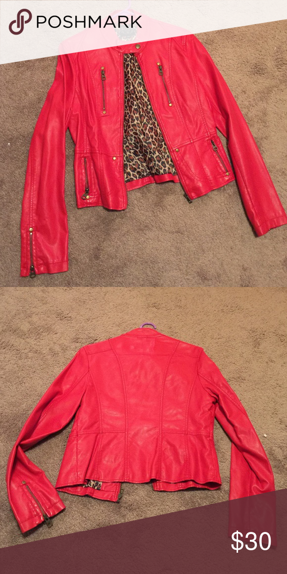 Cherry Red Moto Jacket Pinterest Cherry Red Cheetah Print And