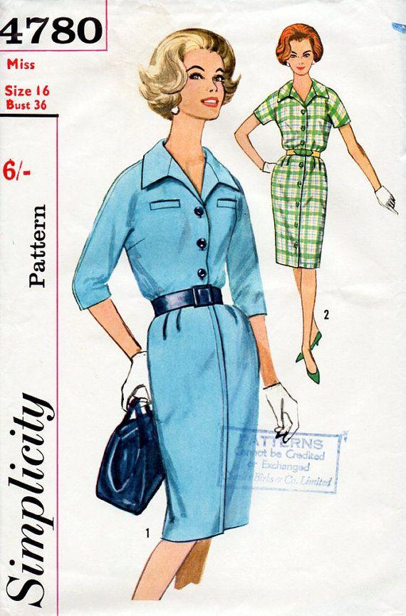 Half Price 1960s Shirt Dress Pattern In Two Styles Simplicity 4780