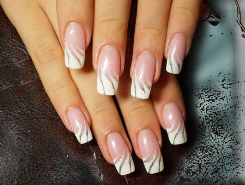 French style nails with white ornaments | nails | Pinterest | White ...