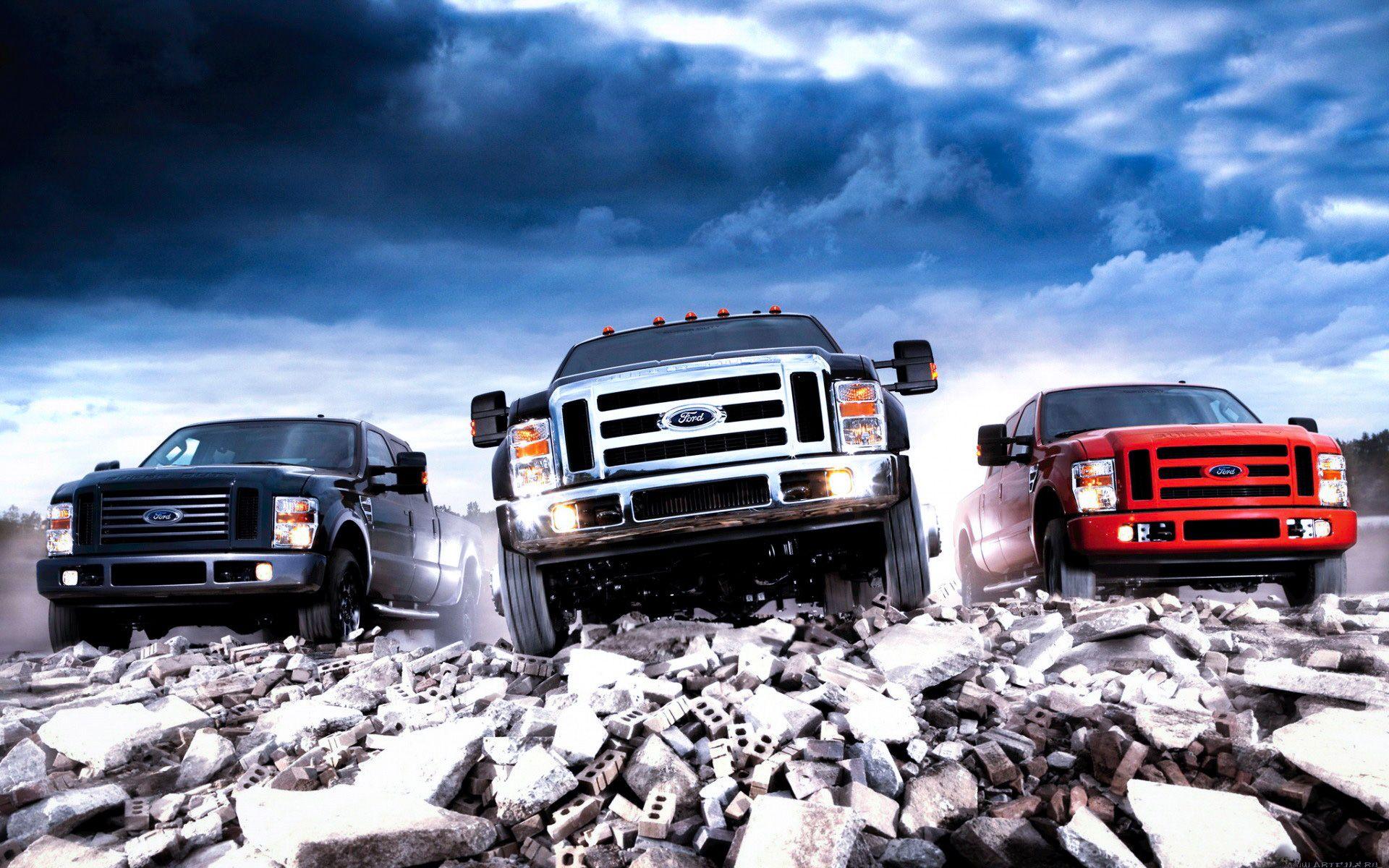 Ford PickUp Trucks Parked. Ford trucks, Diesel trucks
