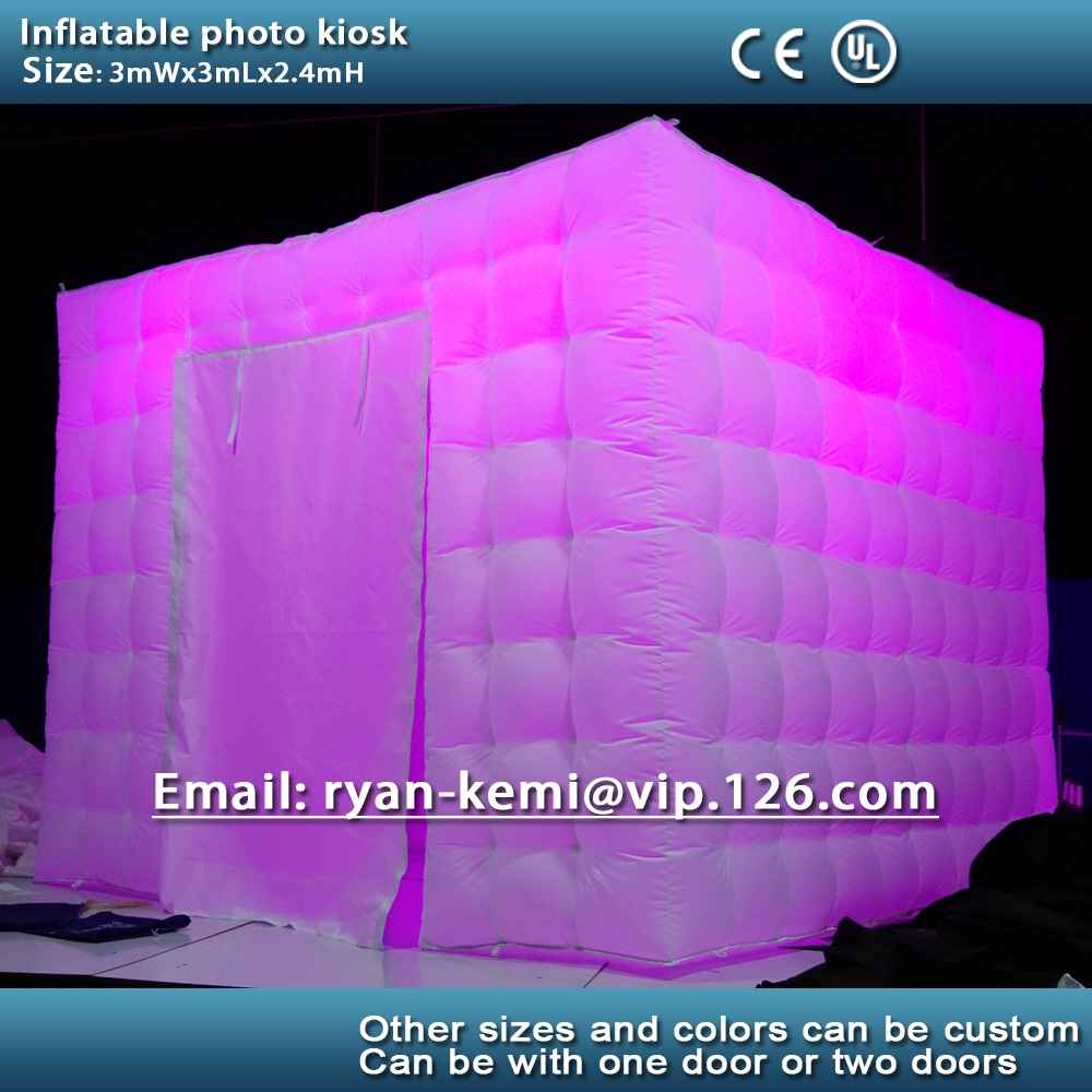 550.00$  Buy here - http://aiw2u.worlditems.win/all/product.php?id=32660439985 - Free shipping custom 3m inflatable photo kiosk with color changing LED light with remote control