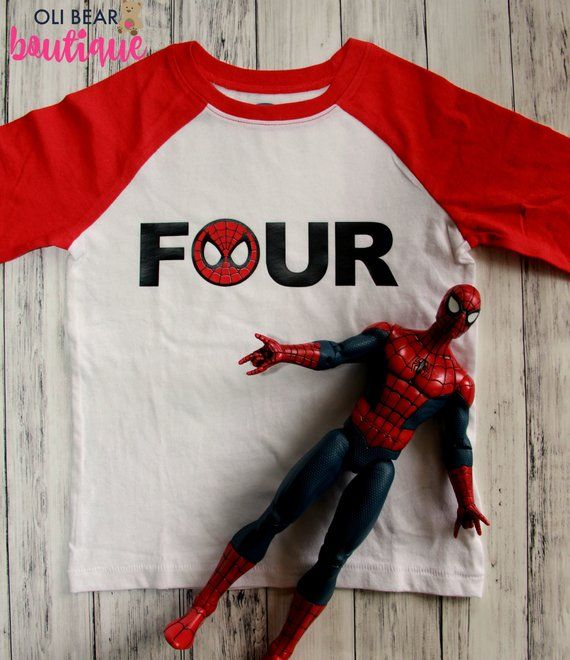 Custom Spiderman Birthday Shirt Superhero 4th Four ShirtBoy Bi