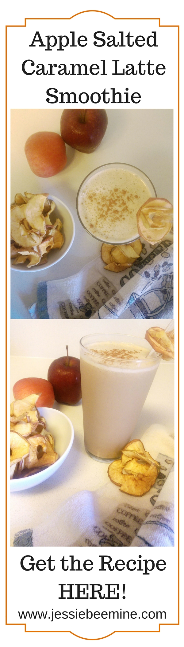 Apple Salted Caramel Latte Smoothie has fall written all over it and it's so good. www.jessiebeemine.com