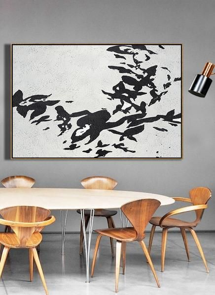 Cz art design hand painted oversized horizontal minimalist abstract flower art black and white