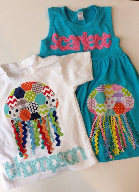 ffbd815b7 Jellyfish Dress and Shirt Set, Beach Outfits, Summer Matching Set, Sibling  Outfits for Summer, Beach
