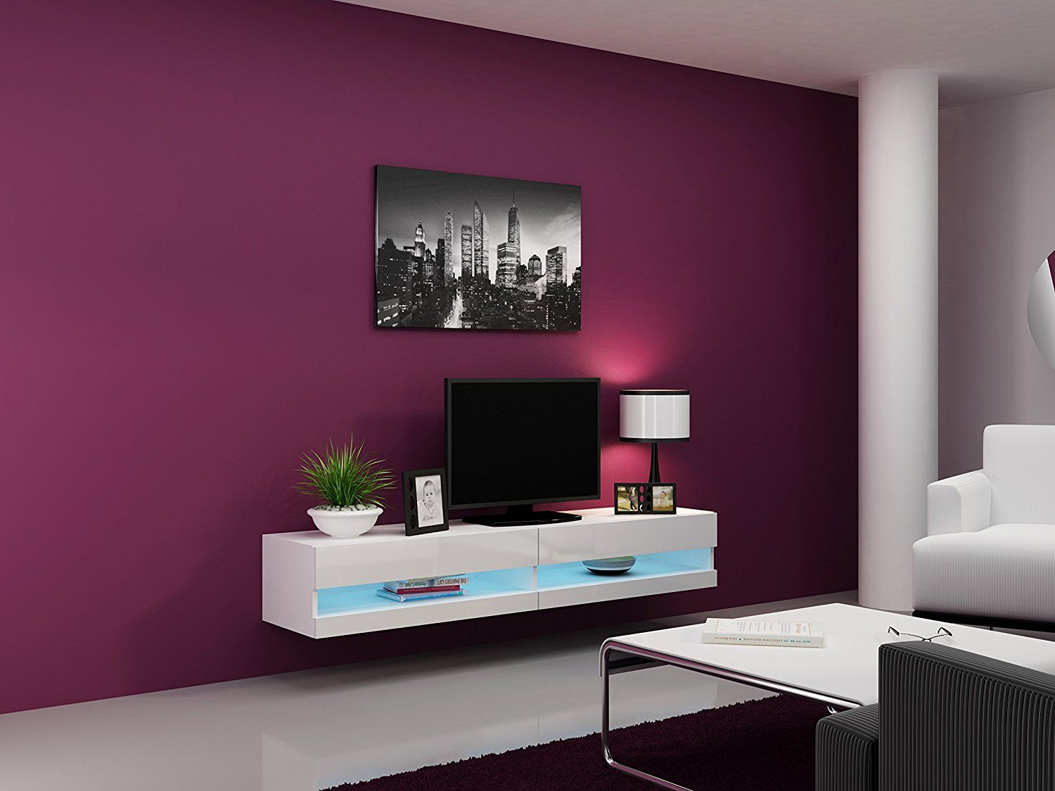 High Gloss Living Room Set With Led Lights Tv Stand Wall  # Meuble Tv Moderne Led