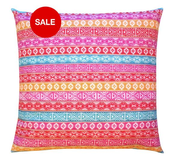 Pillow Case 50 X 50 Cm Red Yellow Blue Pink White Multi Cotton