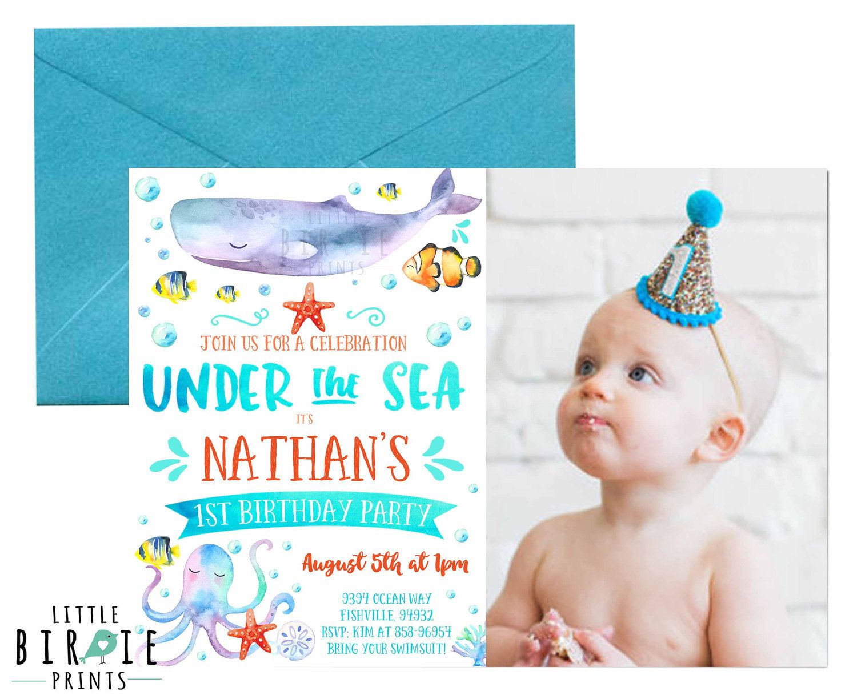 Under the sea invitation Boy Under the sea birthday party invitation ...