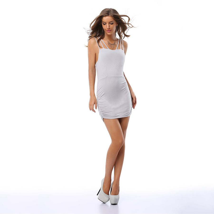 Click to buy ucuc solid backless dress sleeveless sexy short women