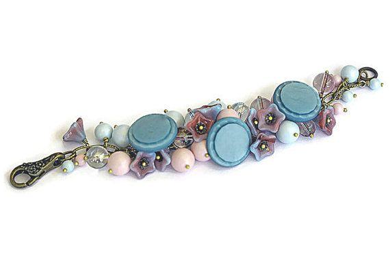 Pastel Pearl Bracelet Vintage Buttons Wirewrapped Swarovski Crystal Pearls Pink Blue Antique Brass Victorian Mori Girl Gypsy Boho OOAK