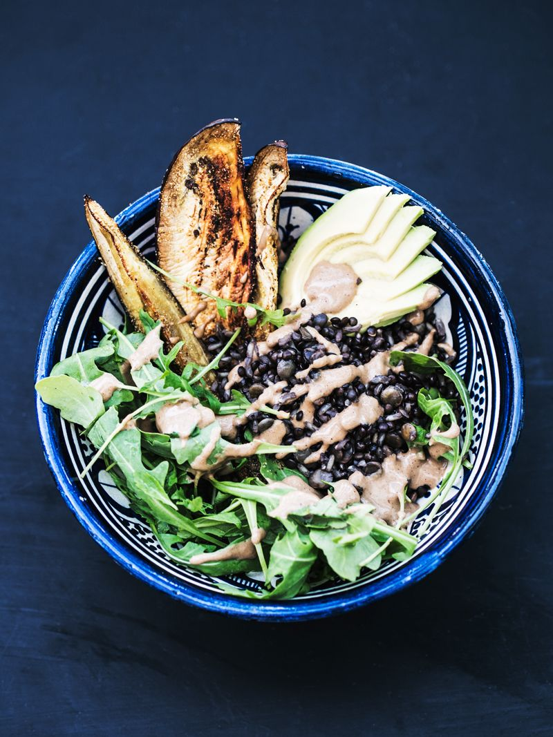 Salad Bowl With Lentils Eggplant Slices Tahini Dressing Simple Healthy And Vegan