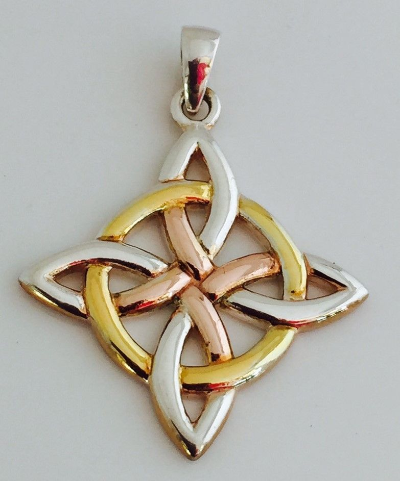 Celtic witches knot pendant 925 sterling silver with pink and celtic witches knot pendant 925 sterling silver with pink and yellow gold accent pendant mozeypictures Image collections