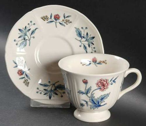Wedgwood Williamsburg Potpourri Footed Tea Cup and Saucer