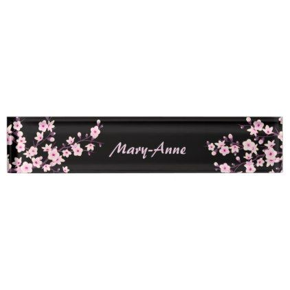 Professional Floral Cherry Blossoms Name Plate Name Plate Cherry Blossom Floral