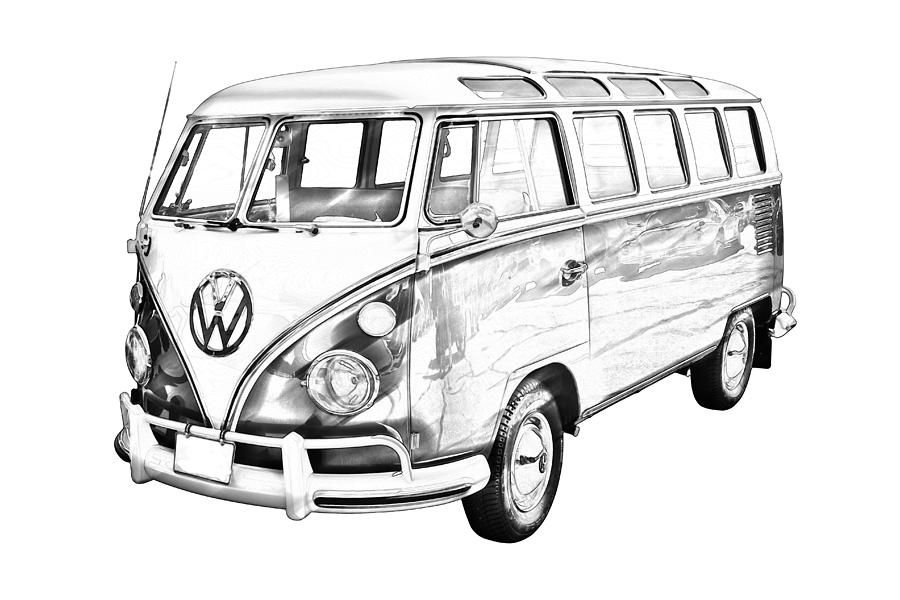 classic vw 21 window mini bus dessins pinterest dessin. Black Bedroom Furniture Sets. Home Design Ideas