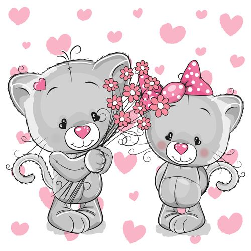 Cartoon Characters Love : Cartoon character with love vector material cute and