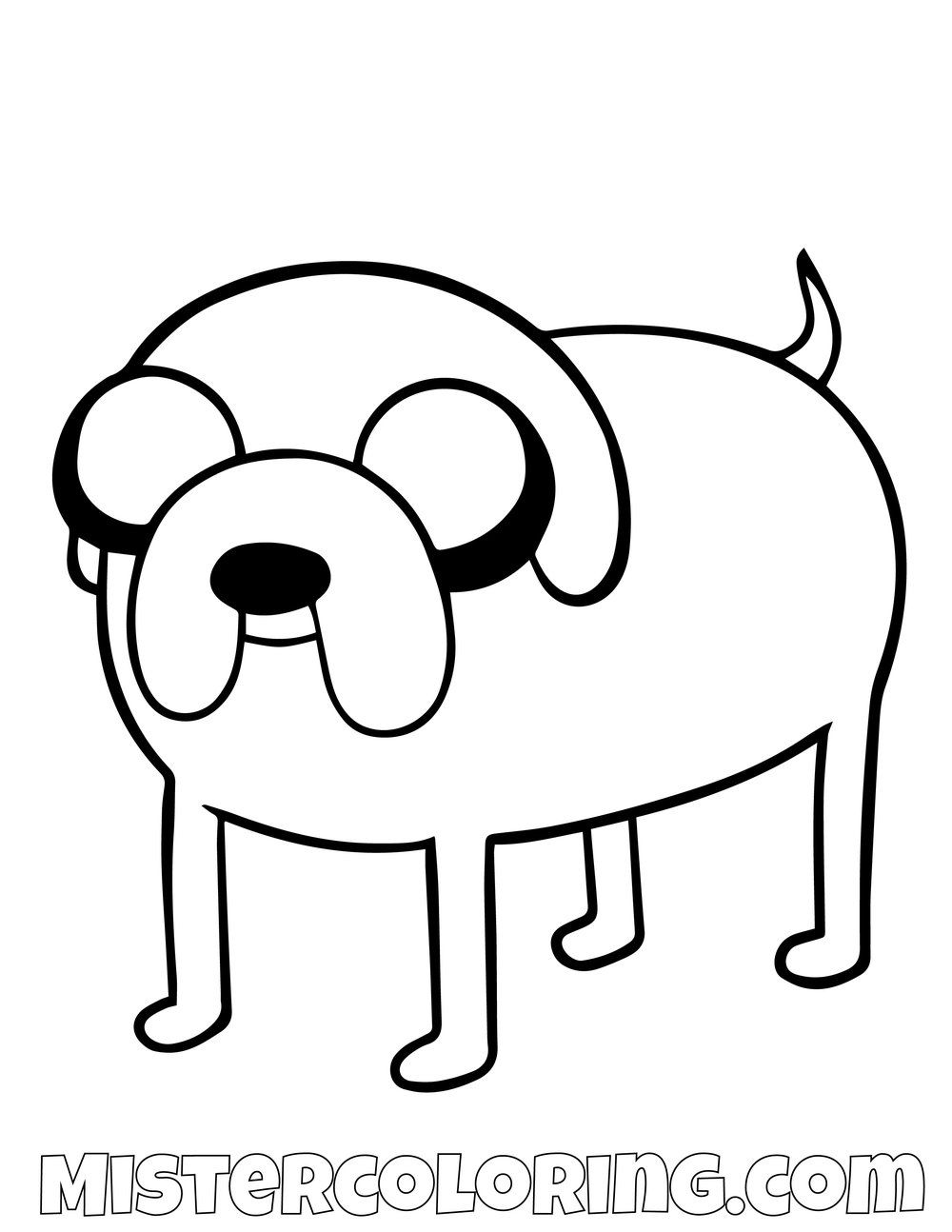 Free Jake The Dog On Four Legs Adventure Time Coloring Page For