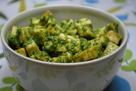Spinach pesto and tofu--so good with some additional pine nuts  @Nick Josie  dinner?