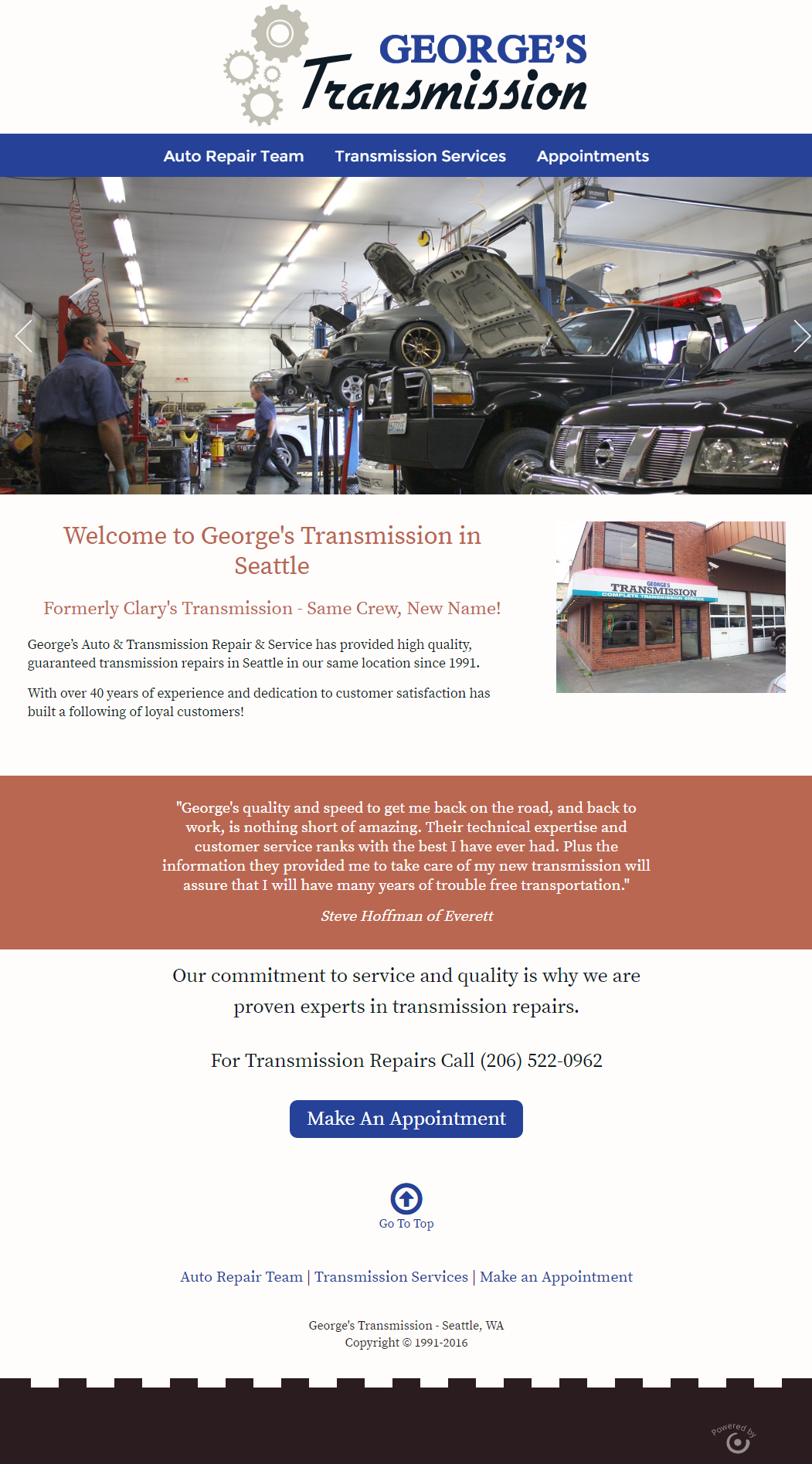 New Wordpress Website And Custom Web Design For George S Transmission Shop In Seattle This Job Include Custom Web Design Transmission Shop Transmission Repair