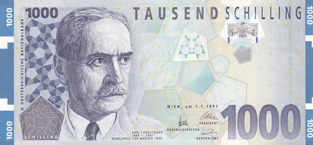 1000 Austrian Schilling Obv Bank Notes Banknotes Design Banknotes Money