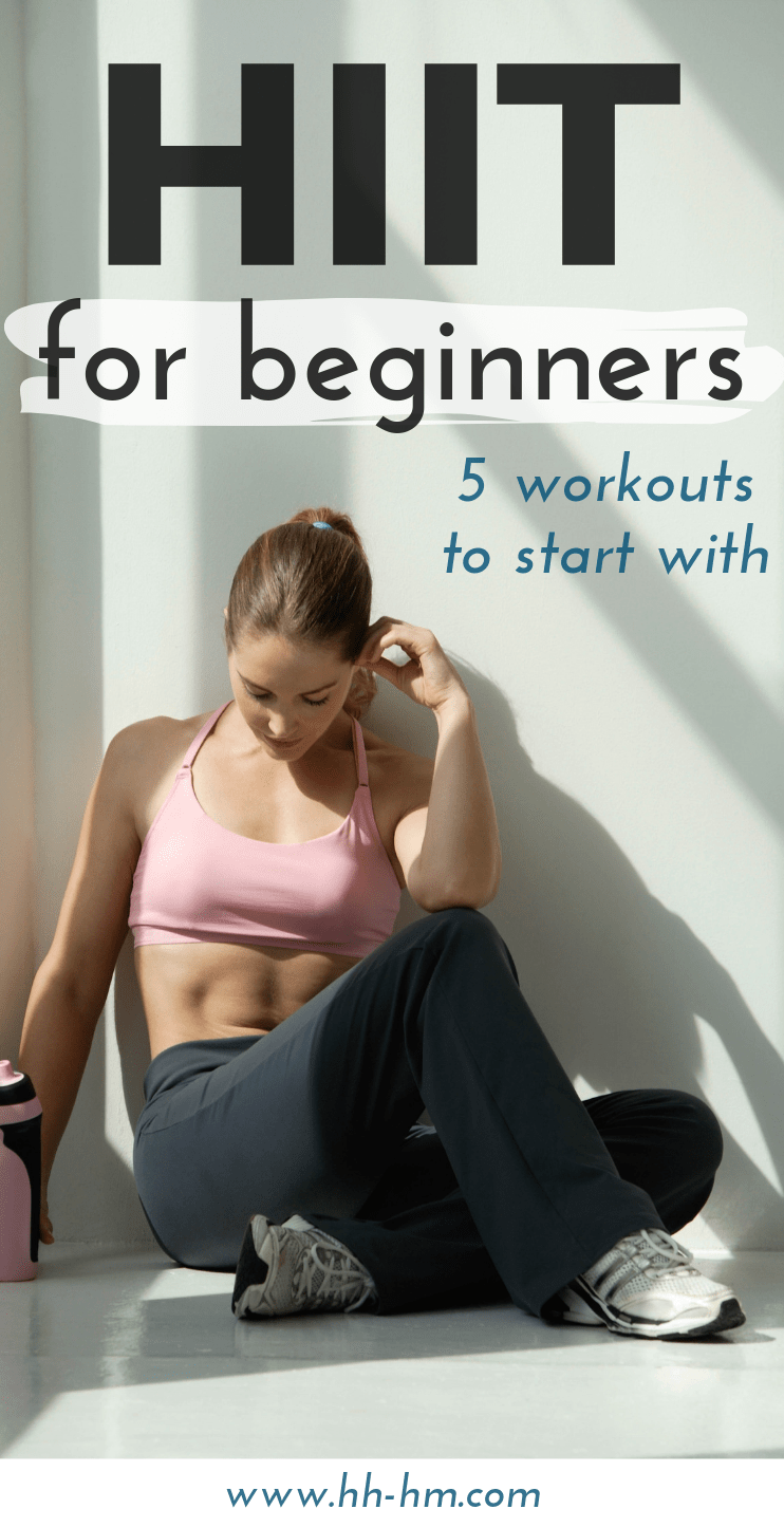 5 HIIT workouts for beginners to start with! Whether you work out at home or at the gym these exercise routines will help you burn a ton of calories in no time. The combination of cardio and strengthening moves makes these workouts very effective. These beginner-friendly high intensity interval training routines are all full body workouts and will help you burn calories long after you're done. #workathome