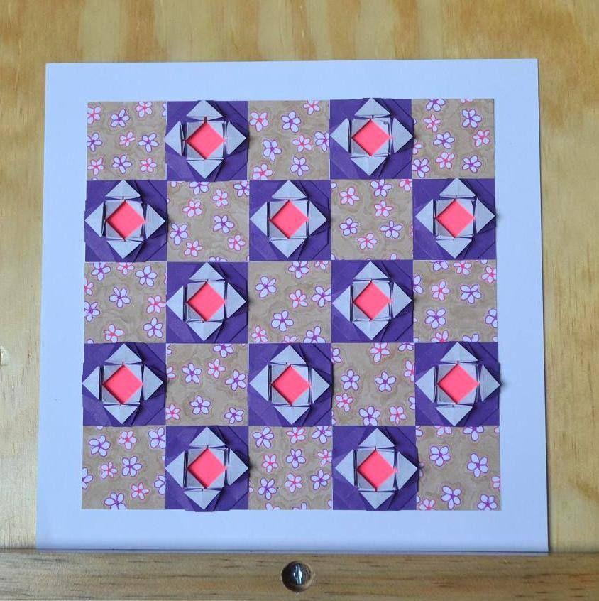 Composição com Origami e papel de scrapbook