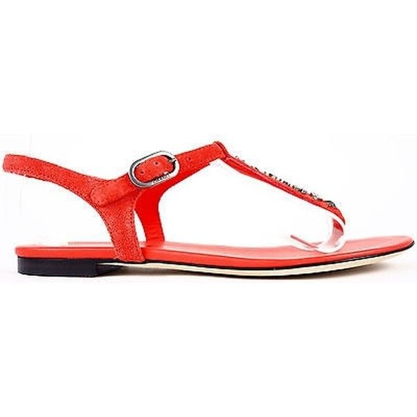 9c45f0ac7293ca Pre-owned Chanel 15s Cc Logo Red Suede Calfskin T-strap Thongs Sandals.