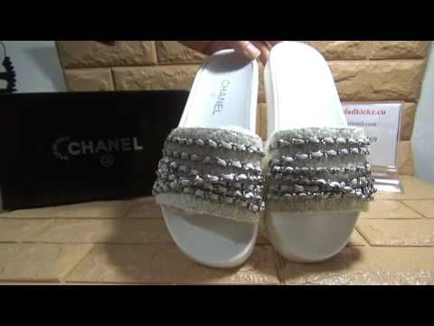 50d29cf453e2a Chanel Mules Chain White Tweed Silver Chain Flats Sandals Review ...