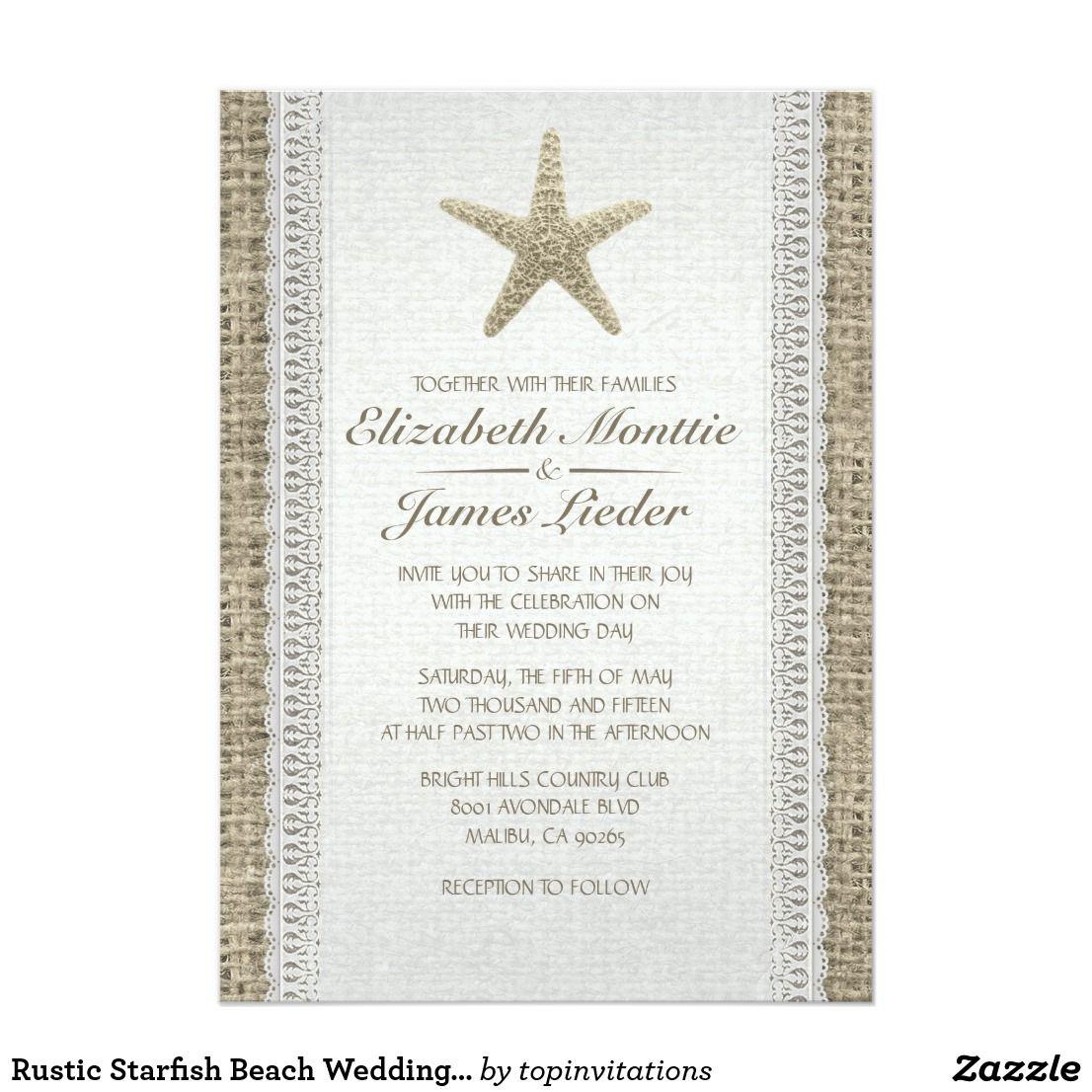 Rustic Starfish Beach Wedding Invitations | Beach Wedding ...
