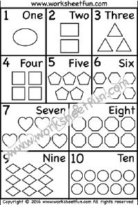 Numbers 1-10 – Numbers in words – Shapes – One Worksheet ...