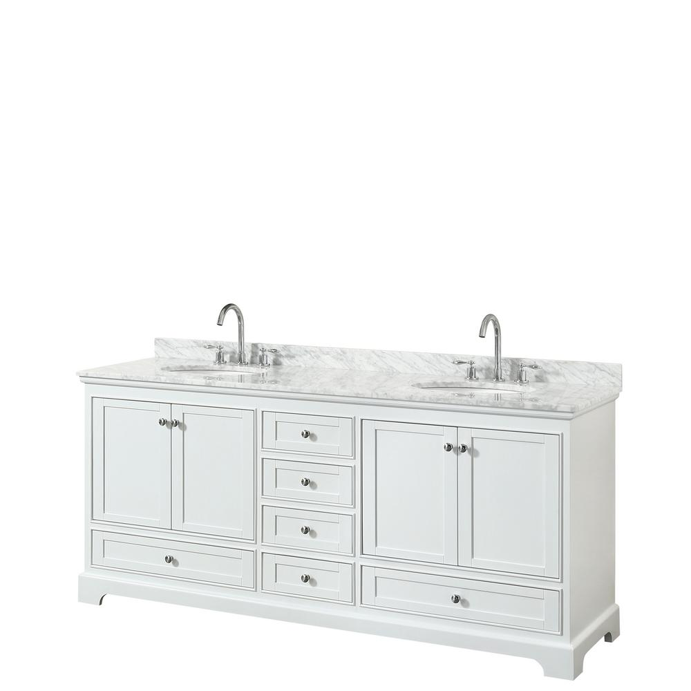 Wyndham Collection Deborah 80 In Double Bathroom Vanity In White With Marble Vanity Top In White Carrara With White Basins Wcs202080dwhcmunomxx The Home Depo Bathroom Vanity Bathroom Vanity Tops Double Vanity Bathroom