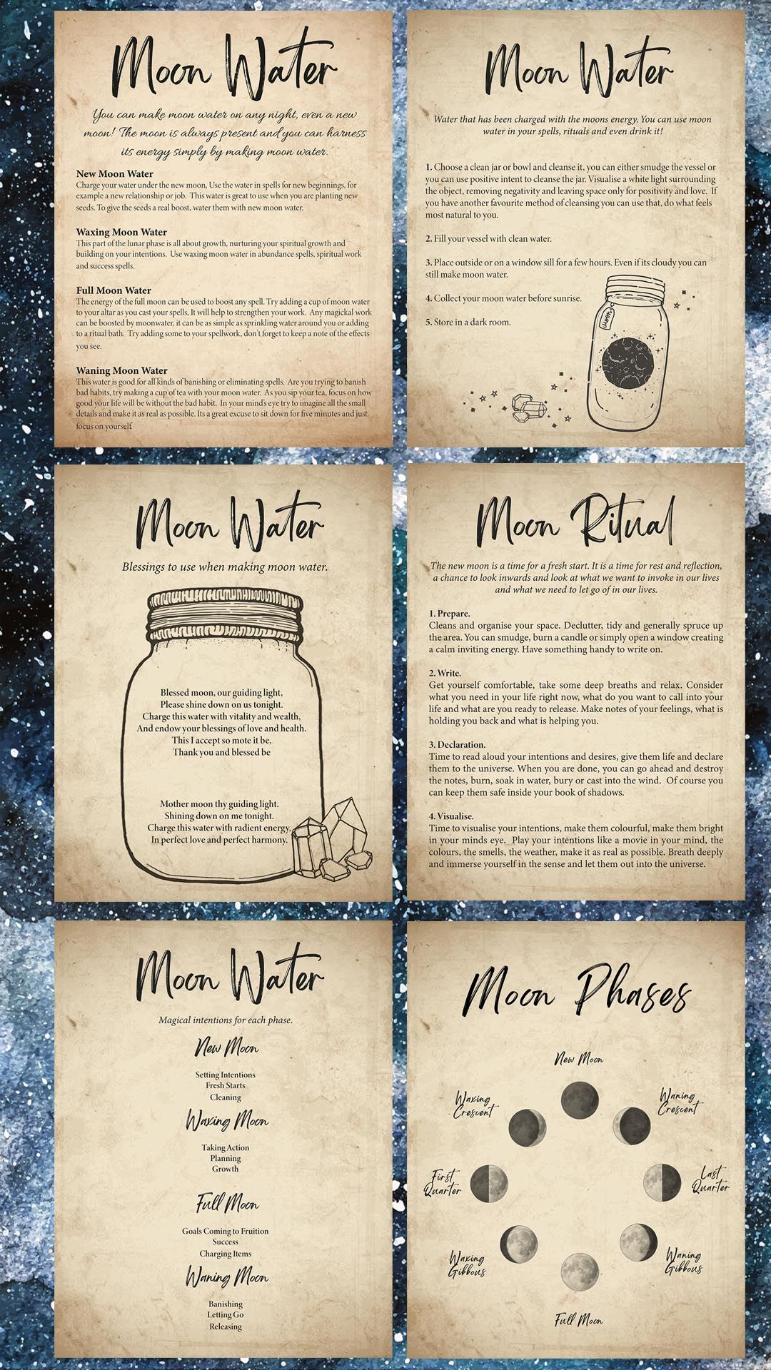 Moon Magic Book Of Shadows Printable Grimoire Pages Bos Pages Download Print And Add To Your Grimoire Witchcraft Books Magic Book Wiccan Spell Book