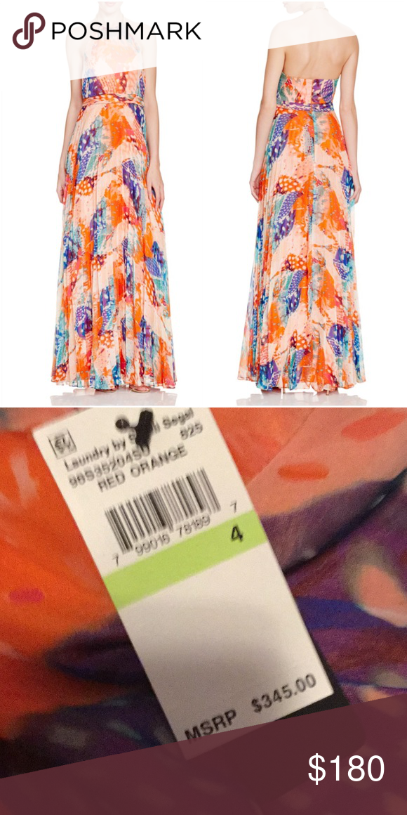 Pleat Gauze Halter Gown Laundry By Shelli Segal Nwt Printed