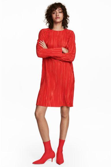 Plizované šaty - Jasně červená - ŽENY  3c439adaf8e
