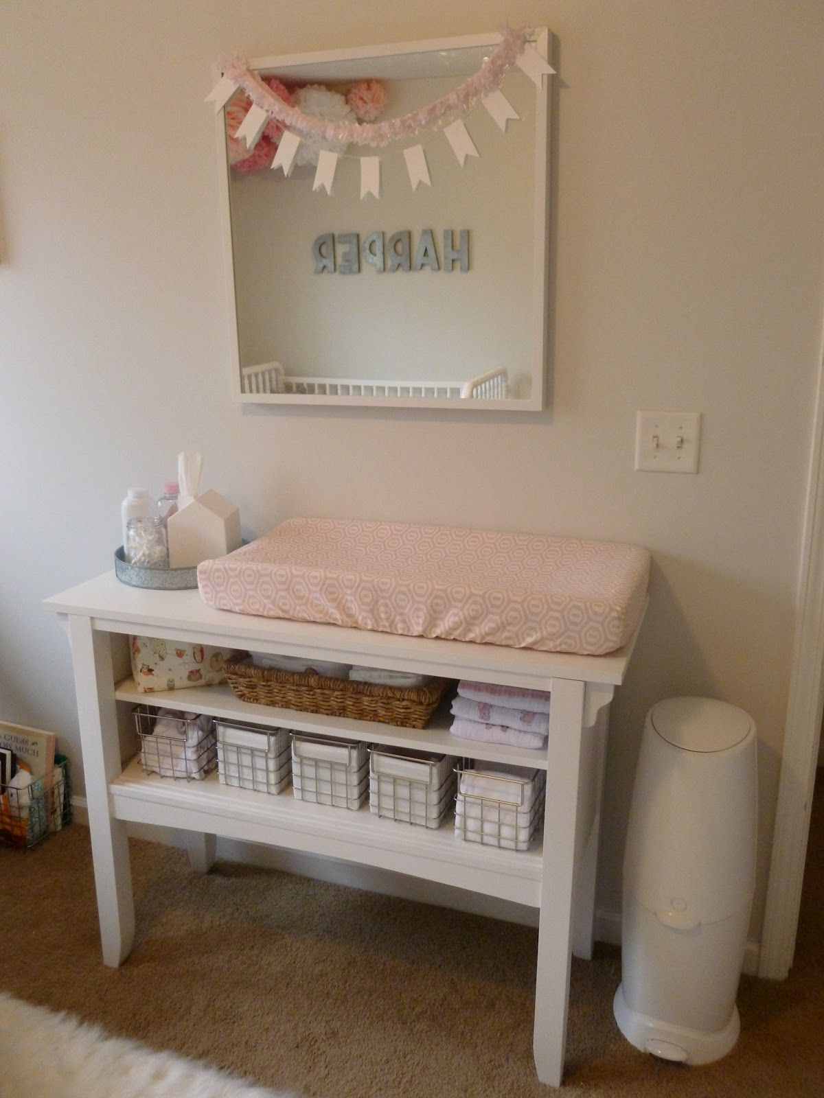 Baby garvin  pink and peach girls nursery changing table