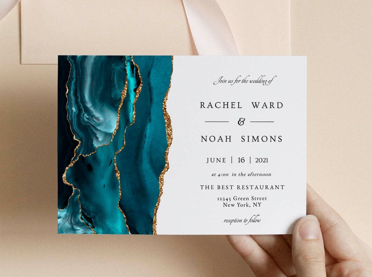 Wedding Invitation Turquoise Set Template, Teal and Gold Agate, Wedding Invitation Suite, Turquoise Wedding Invitation, Instant Download
