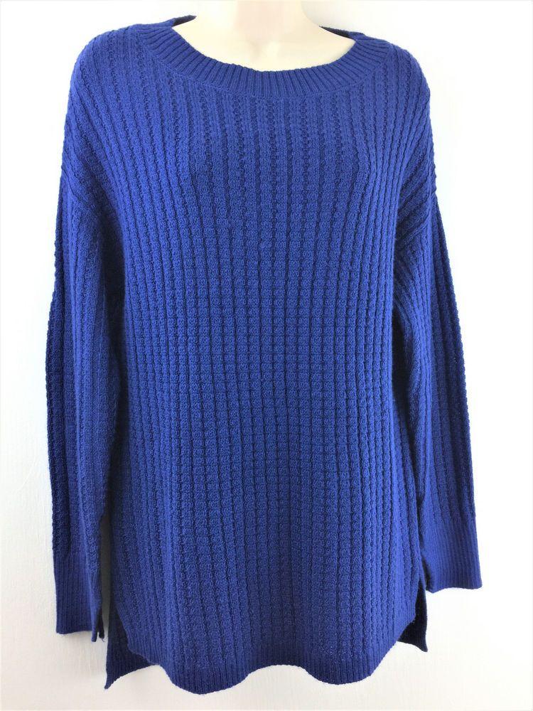 Ann Taylor Med Blue Wool Acrylic Sweater Long Sleeve Texture Knit ...