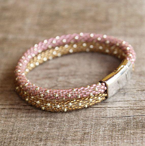Perlen Häkeln Seil Armband Gold Rosa Rocailles Von Naryajewelry