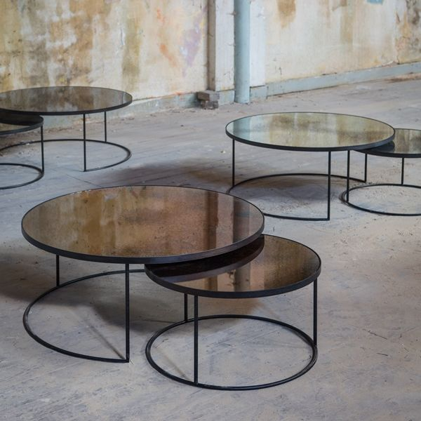 bronze nesting coffee table set by notre monde