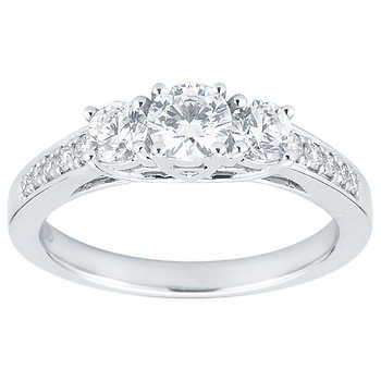 4ca9f93bfcd1 Round Brilliant 1.00 ctw VS2 Clarity, I Color Diamond 14kt White Gold Three  Stone Ring