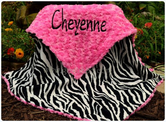 3b6bb0dcc8 Zebra Minky Baby Blanket Hot Pink Minky Swirl Personalized Blanket ...