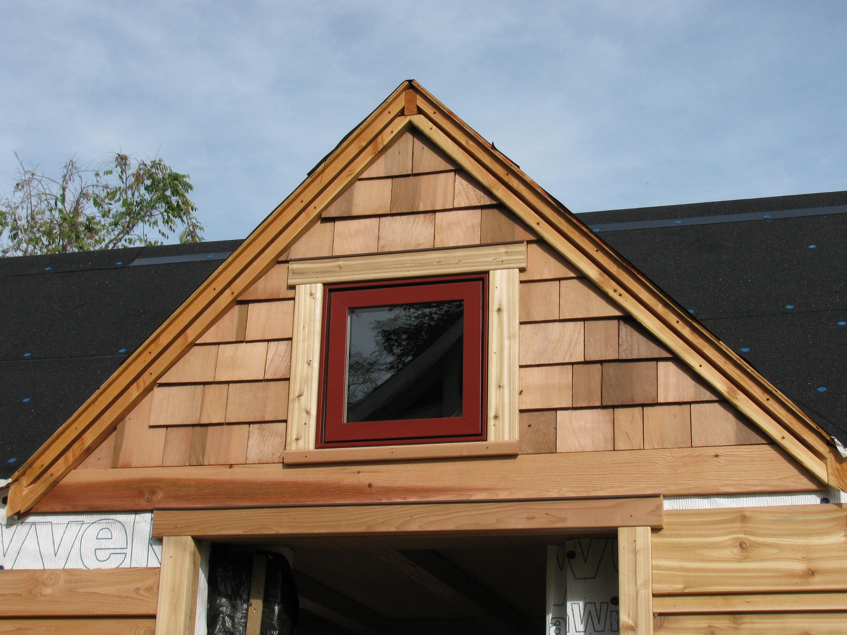 No cedar shake dormers close up of one of the dormer for Cedar siding house plans