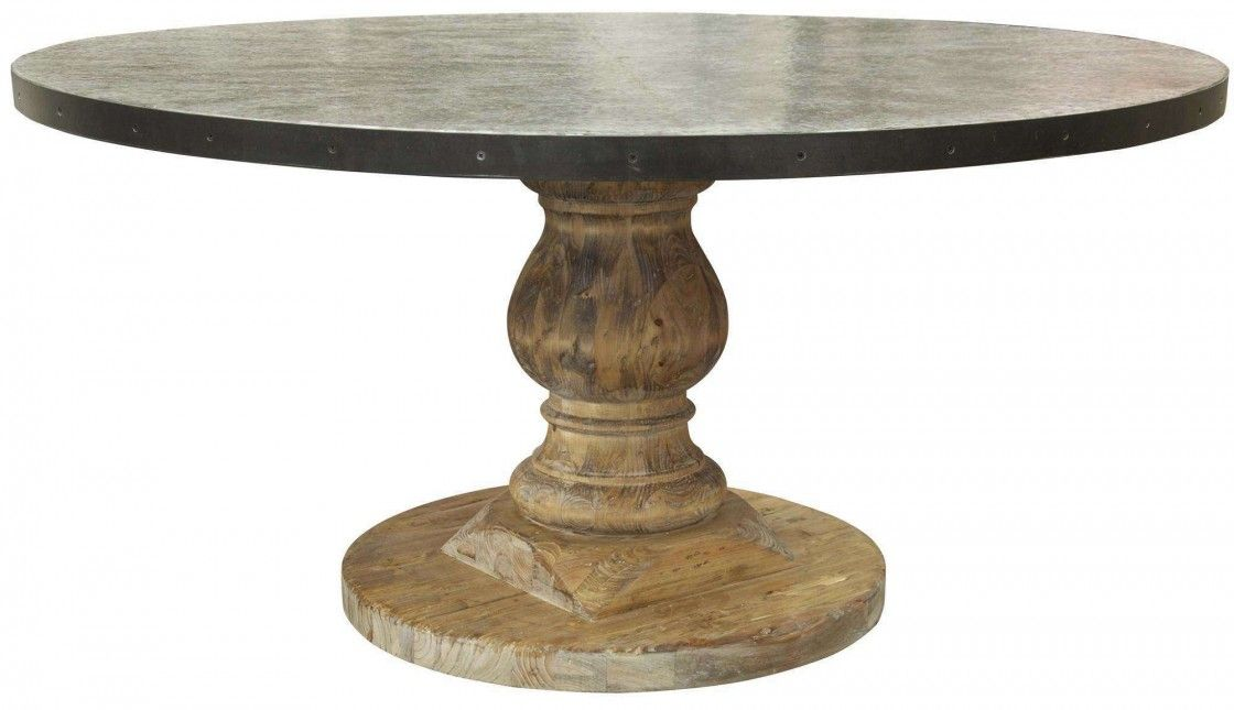 Antique Black Round Dining Table With Zinc Top Zoom Custom Tables