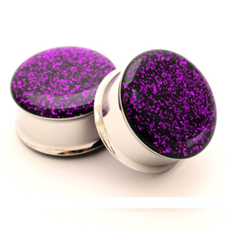 1 para stecker edelstahl lila glitter doppel flare ohr lehrdorne tunnel piercing schmuck PSP0026