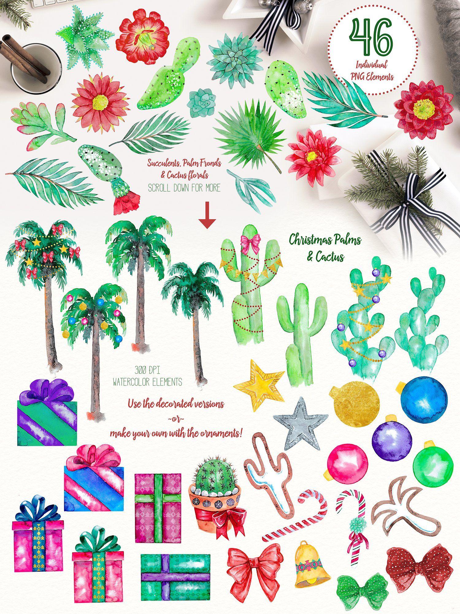 California design. Christmas in clipart set