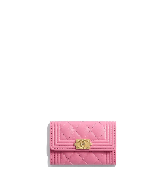 Calfskin goldtone metal pink boy chanel card holder