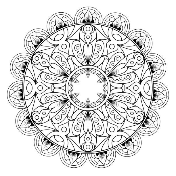 Decorative monochrome ethnic mandala pattern. Anti-stress coloring…