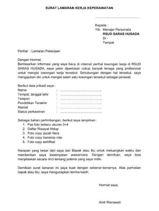 Download Contoh Surat Lamaran Kerja Keperawatan Pengertian Bagian