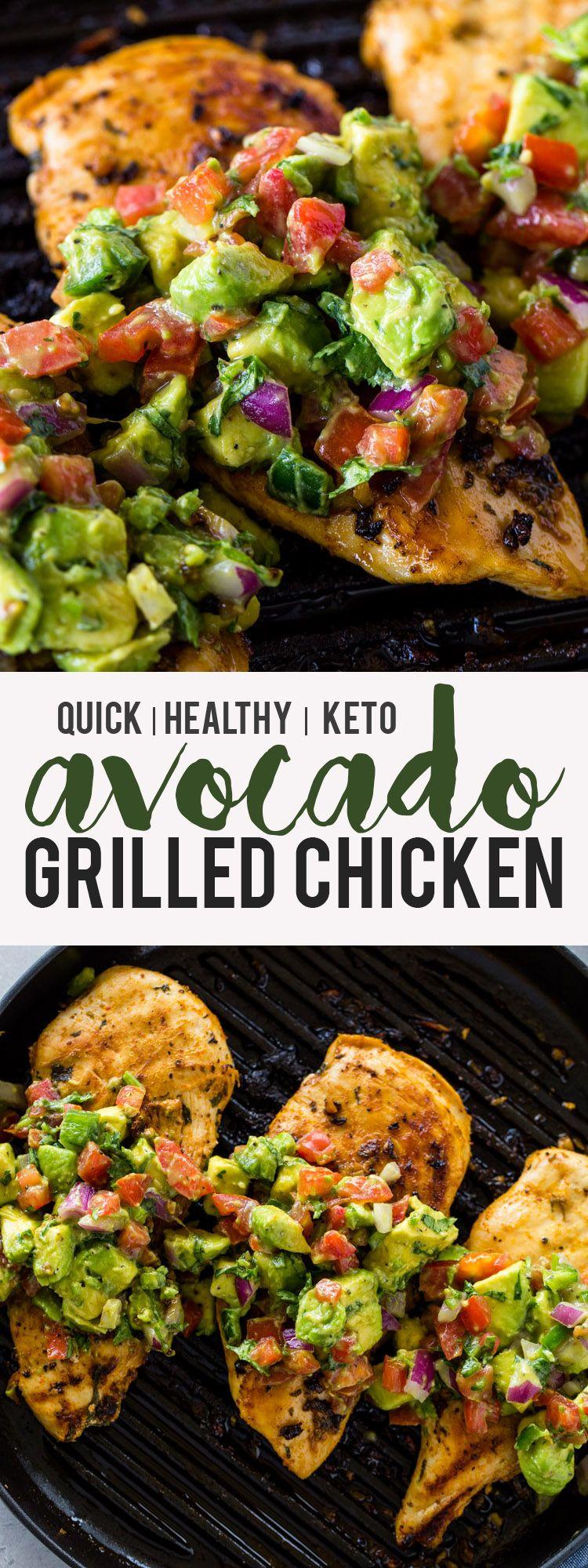 Grilled Chicken with Avocado Salsa (Keto) #healthyavocadorecipes